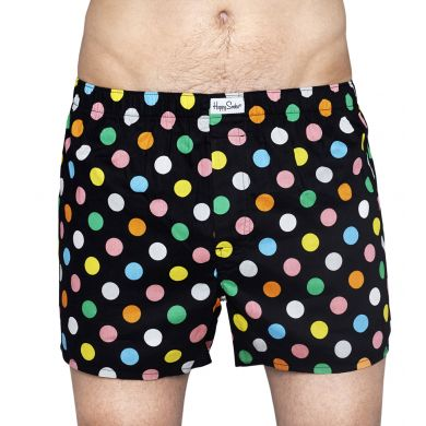 Černé trenýrky Happy Socks s barevnými puntíky, vzor Big Dot