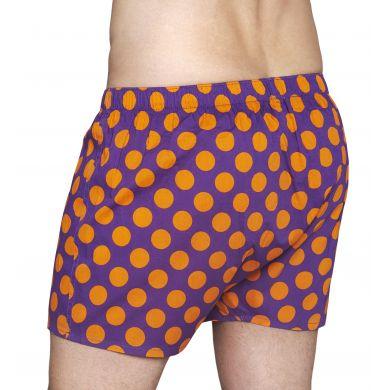 Fialové trenýrky Happy Socks s oranžovými puntíky, vzor Big Dot