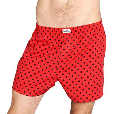 Červené trenýrky Happy Socks s černými tečkami, vzor Dot