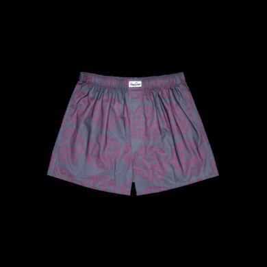 Šedé trenýrky Happy Socks s růžovými vlnkami, vzor Poof