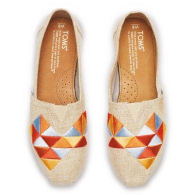 Béžové dámské TOMS Alpargatas s barevnou výšivkou