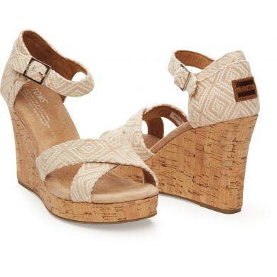Béžové dámské sandálky na klínku TOMS Woven Diamond