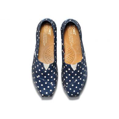 Modré dámské TOMS Classic Alpargatas s puntíky