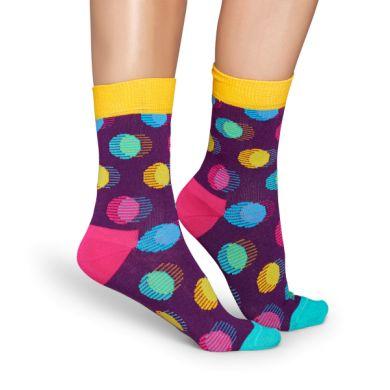 Fialové ponožky Happy Socks s barevnými puntíky, vzor Out Of Focus Dot