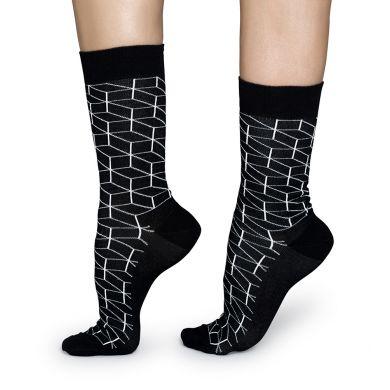 Černé ponožky Happy Socks s bílým vzorem Optic
