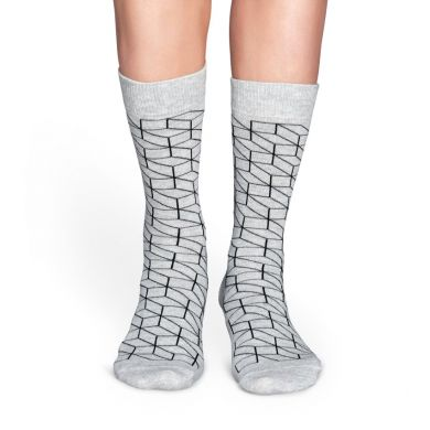 Šedé ponožky Happy Socks s černým vzorem Optic