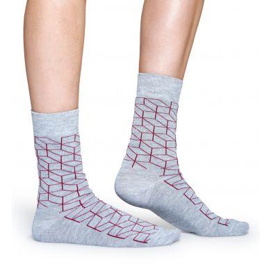 Šedé ponožky Happy Socks s červeným vzorem Optic