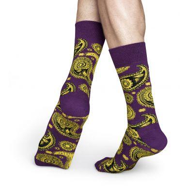 Fialové ponožky Happy Socks se žlutým vzorem Paisley