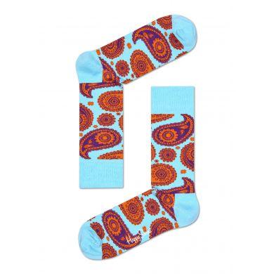 Modré ponožky Happy Socks s oranžovým vzorem Paisley
