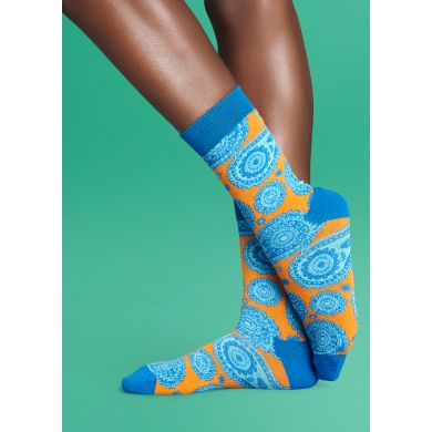 Žluté ponožky Happy Socks s modrým vzorem Paisley