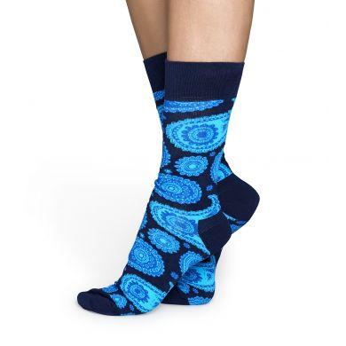 Modré ponožky Happy Socks s tyrkysovým vzorem Paisley