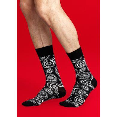 Černobílé ponožky Happy Socks se vzorem Paisley
