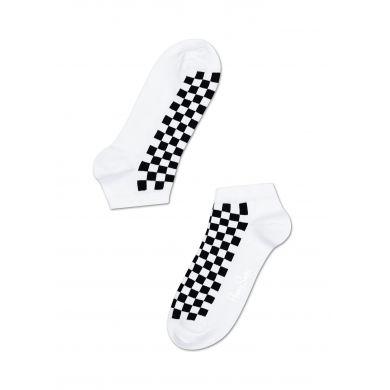 Nízké bílé ponožky Happy Socks s černými čtverečky