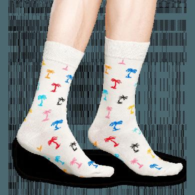 Bílé ponožky Happy Socks s barevnými palmami, vzor Palm Beach
