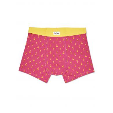 Růžové boxerky Happy Socks se žlutými palmami, vzor Palm Beach