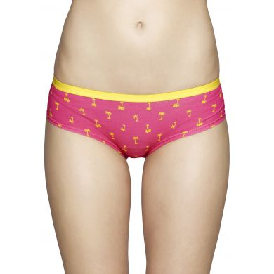 Růžové kalhotky Happy Socks se žlutými palmami, vzor Palm beach