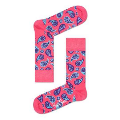 Růžové ponožky Happy Socks s modrým vzorem Paisley