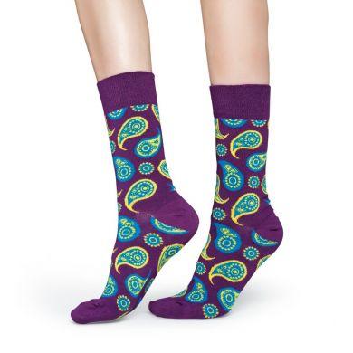 Fialové ponožky Happy Socks s barevným vozrem Paisley