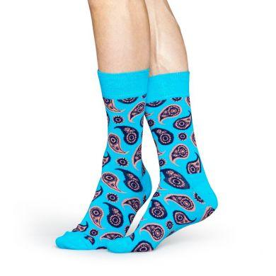Tyrkysové ponožky Happy Socks s barevným vozrem Paisley