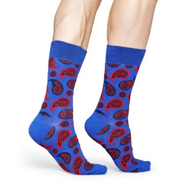 Modré ponožky Happy Socks s červeným vozrem Paisley