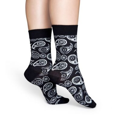 Černé ponožky Happy Socks s bílým vzorem Paisley