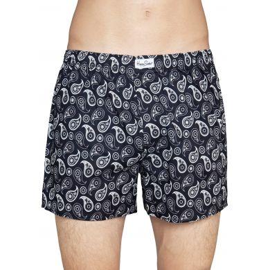 Černé trenýrky Happy Socks s bílým vzorem Paisley