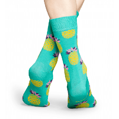 Tyrkysové ponožky Happy Socks s žlutými ananasy, vzor Pineapple