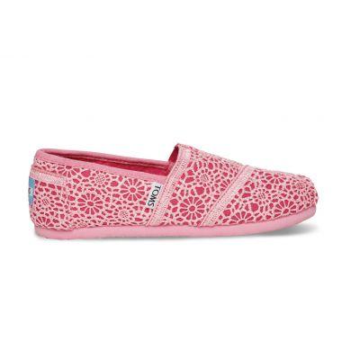 Dětské růžové TOMS Crochet Youth Alpargatas