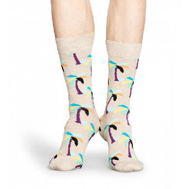 Béžové ponožky Happy Socks s barevnými palmami, vzor Palm