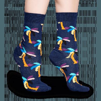 Modré ponožky Happy Socks s barevnými palmami, vzor Palm