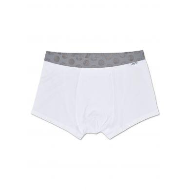 Bílé Solid boxerky Happy Socks s šedými puntíky