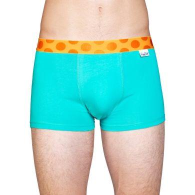 Tyrkysové Solid boxerky Happy Socks s oranžovými puntíky
