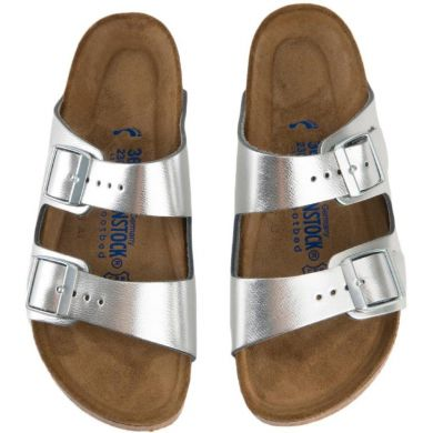 Stříbrné pantofle Birkenstock Arizona Leather
