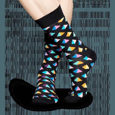 Černé ponožky Happy Socks s barevnými pyramidami, vzor Pyramid