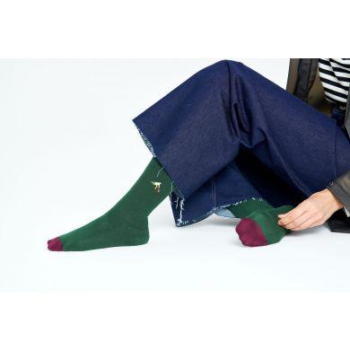 Zelené vroubkované ponožky Happy Socks s vyšitým tenistou, vzor Game Set
