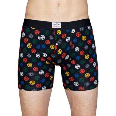 Barevné delší boxerky s knoflíčky Happy Socks, vzor Logo // kolekce Royal Enfield