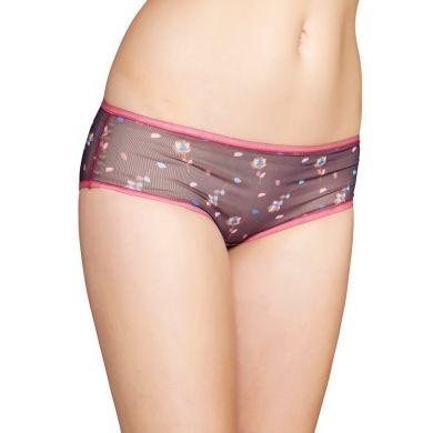 Šedé mesh kalhotky Happy Socks s barevným vzorem Rose Petal