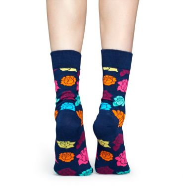 Modré ponožky Happy Socks s barevnými růžemi, vzor Rose