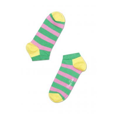 Nízké zeleno-růžové ponožky Happy Socks s pruhy, vzor Stripe