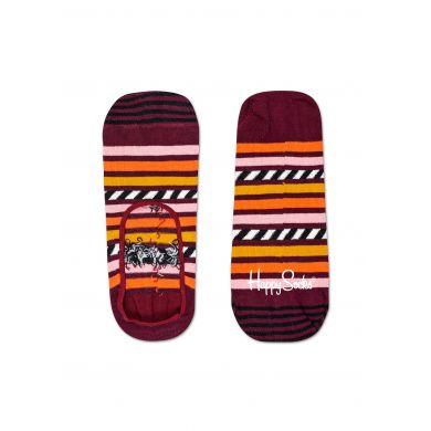 Barevné nízké vykrojené pruhované ponožky Happy Socks, vzor Stripes and Stripes
