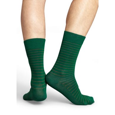 Zelené ponožky Happy Socks s oranžovými proužky, vzor Thin Stripe