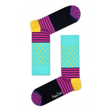 Tyrkysovo-černé ponožky Happy Socks s barevným vzorem Stripe Dot