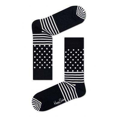Černobílé ponožky Happy Socks se vzorem Stripe Dot
