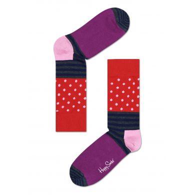 Červeno-fialové ponožky Happy Socks s barevným vzorem Stripe Dot