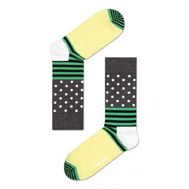 Šedo-žluté ponožky Happy Socks s barevným vzorem Stripe Dot