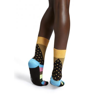 Žluté ponožky Happy Socks s barevným vzorem Stripe Dot