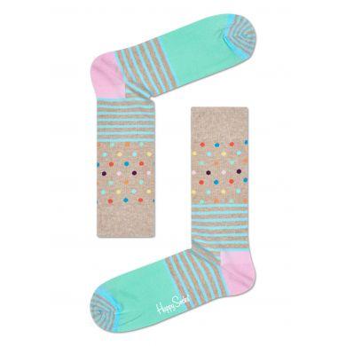 Béžové ponožky Happy Socks s barevným vzorem Stripe Dot