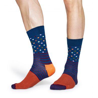 Modro-oranžové ponožky Happy Socks s barevným vzorem Stripe Dot