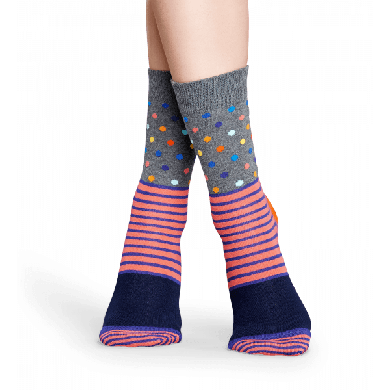 Šedé ponožky Happy Socks s barevným vzorem Stripe Dot