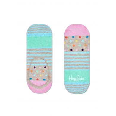 Nízké vykrojené béžové ponožky Happy Socks s barevným vzorem Stripe Dot